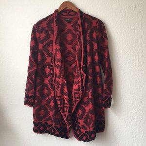 Lucky Brand Aztec Print Red Cardigan Wrap Sweater